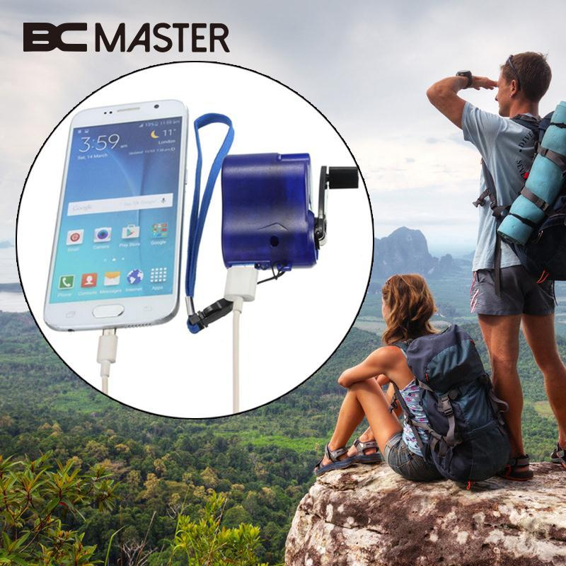 BCMaster Phone Hand Crank Dynamo Charger Charging Cell USB Hands Blue Emergency Dynamos Portable Power Supply Travelling Gift
