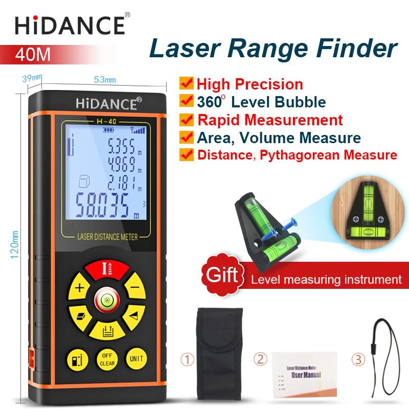 HiDANCE 40M Digital laser range finder handheld distance 131ft meter Area-volume-Angle ruler build  tape Measure Roulette Tool