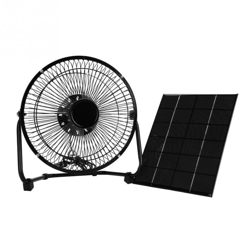 USB 8inch 5.2W 6V Iron Cooling Fan Solar Panel for Outdoor Traveling Black
