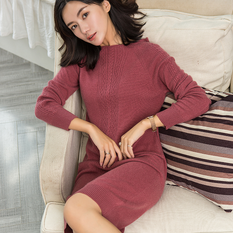 red Laine Pulls Supérieure Tricoté 100 Style Beige coffee Haut Couleurs noir Pur Cachemire De purple Qualité Pull Chandail Femme 5 Oneck Long OOAg1Zqw