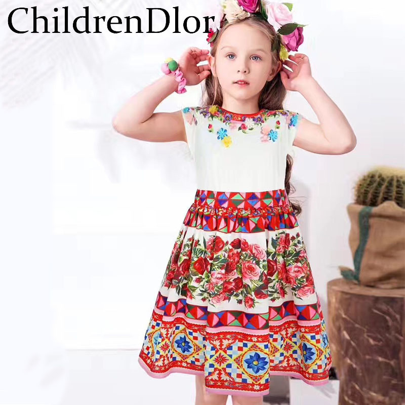 Подробнее о Toddler Girls Dresses Summer 2017 Brand Robe Princesse Fille Children Dress for Kids Girl Princess Dress Floral Girl Party Dress baby girl dress 2016 brand girls summer dress children clothing lemon print kids dresses for girls clothes robe princesse fille