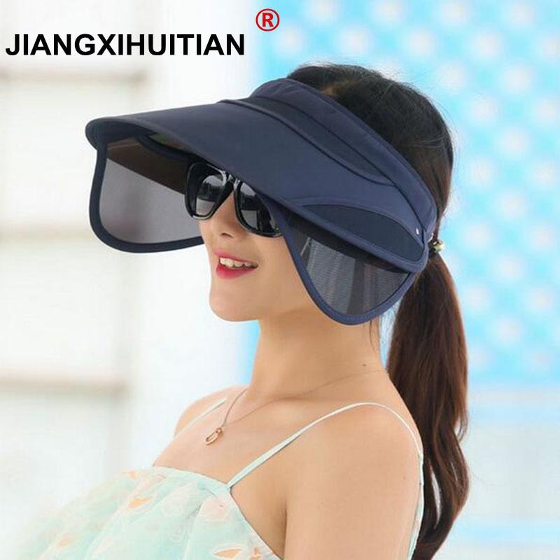 2017 جديد قابل للسحب قناع الإناث الصيف أحد قبعة فارغة الصلبة للجنسين سمبريرو كاب uv قبعة الشمس قبعة الشاطئ قبعة أغطية الرأس