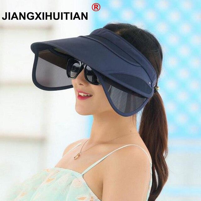 bd39a51aebe 2017 New Retractable Visor Female Summer Sun Empty Top Hat Solid Unisex  Sombrero Cap UV Sun Hat Woman Beach Hat Headwear