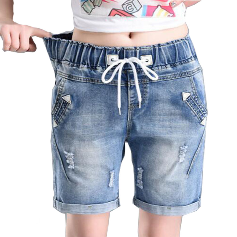 High Waisted Denim Shorts Women Korean Womens Elastic Waist Shorts With Pockets Thin Plus Size Straight Jeans Shorts Stretch lace hollow black denim shorts women ripped jeans with high waist sexy thin jeans for girls hole denim shorts women