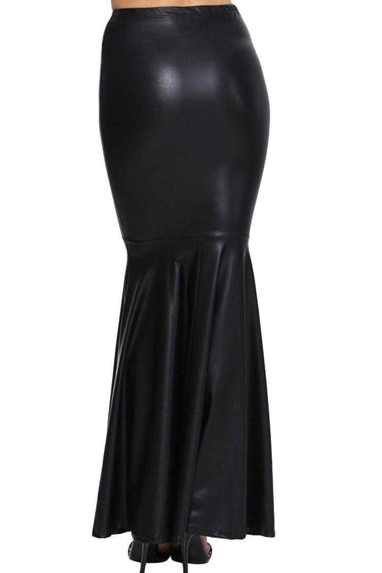 Aliexpress.com : Buy Big Plus Size Maxi Long Black Faux Leather ...