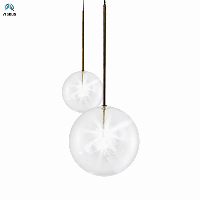Clear Glass Globe G4 Dimmable Led Pendant Lights Dining Room Lustre Luminaria Led Hanging Lamp Indoor Lighting Lamparas Fixtures bolle sola gallotti & radice