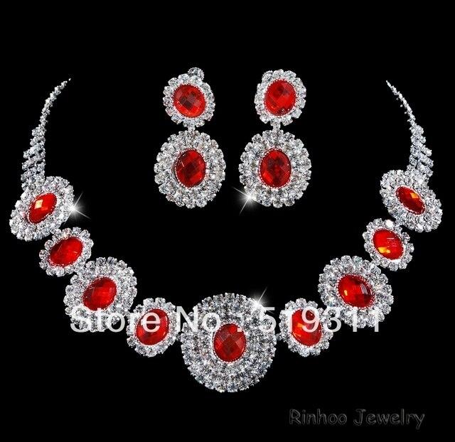 Элегантный Красный Овал Кристалл невесты аксессуары горный хрусталь ожерелье серьги устанавливает Свадебный горный хрусталь наборы