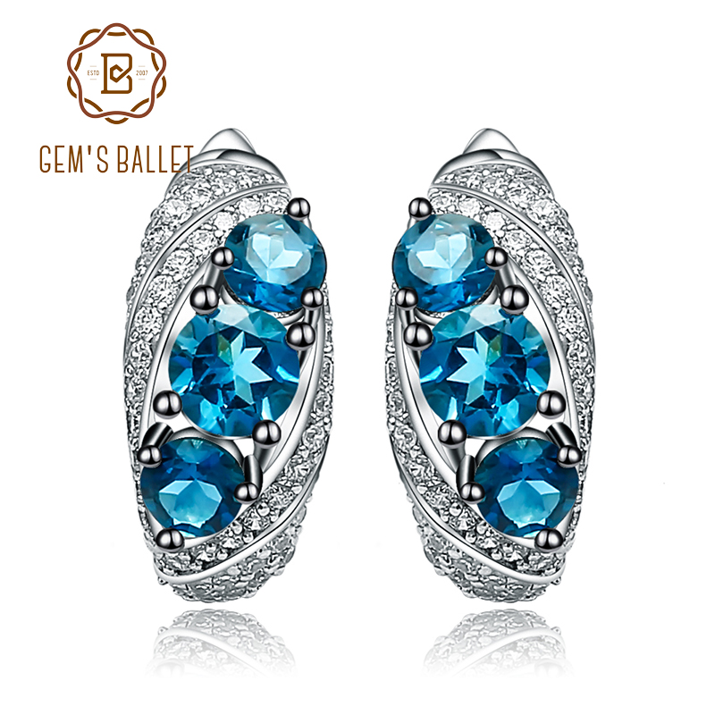 Gem s Ballet 2 5Ct Natural London Blue Topaz Vintage Stud Earrings 925 Sterling Silver Gemstone