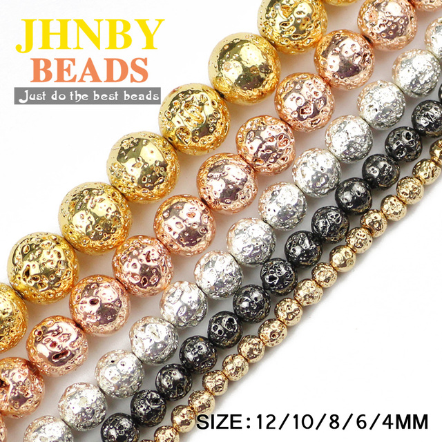 JHNBY Silver,Black,Rose Gold Natural Lava Stone Hematit 4/6/8/10/12MM Round Loose beads for Jewelry bracelet≠cklace making DIY