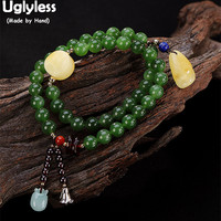 Uglyless Real Natural Green Jade Balls Bracelets for Women 2 Layers Beading Amber Bracelet Emerald Charms Fine Jewelry Bangles