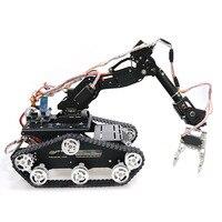 WiFi/Bluetooth/sterowanie rączką robot mobilny ramię Robotic Gripper z metalowym podwoziem zbiornika dla DIY RC model robota Kit w Czołgi RC od Zabawki i hobby na