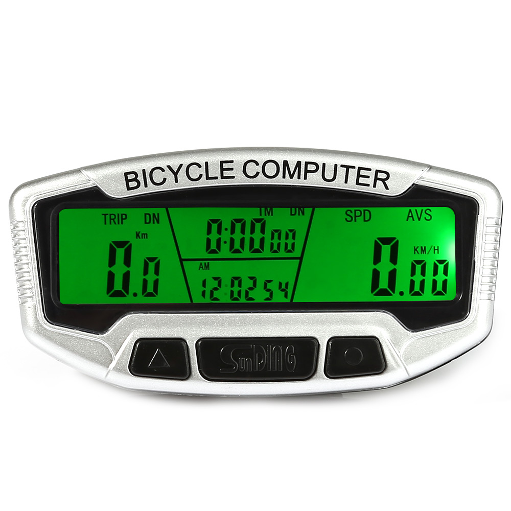 SunDing Wireless Bicycle Computer Water Resistant Cycling Odometer Speedometer With LCD Backlight Bike Computer