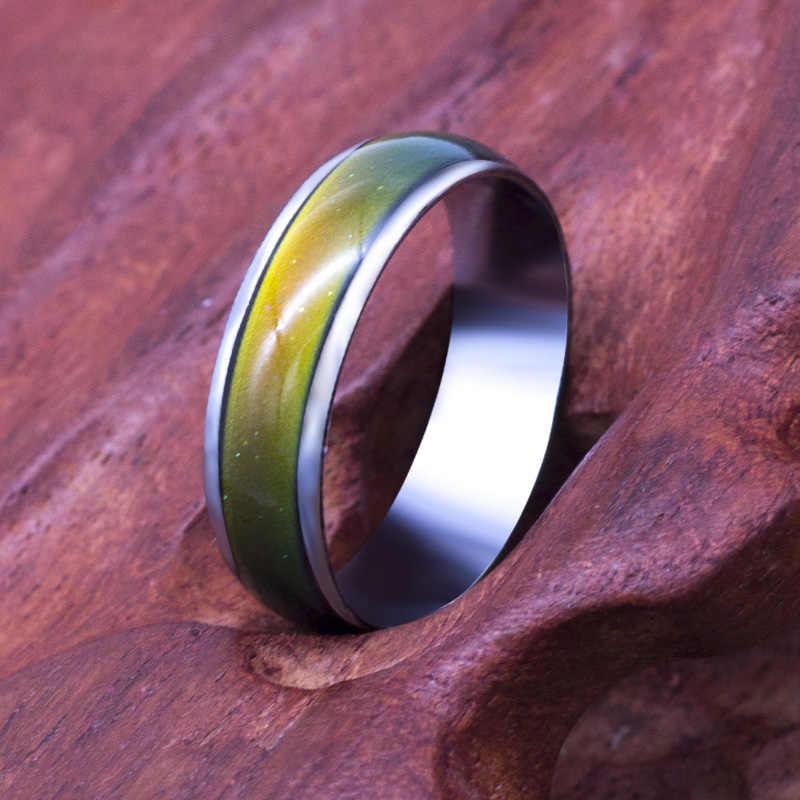 คลาสสิกสีเปลี่ยนอุณหภูมิอารมณ์แหวนขายร้อนเครื่องประดับ 6 มิลลิเมตรกว้างสมาร์ทเปลี่ยนสีแหวน