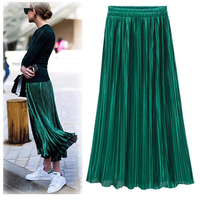 Mujeres de Moda Con Lentejuelas de Oro Faldas Mujer 2017 Nuevo Negro Rojo Verde de La Alta Cintura Plisado Midi Midi Faldas de La Novedad