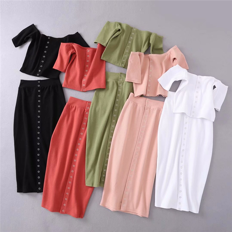 Summer New Style Slim Sleeve Thread Short Short Sleeve T-Shirt  Sexy Breasted Bag Hip Dress Fashion Set