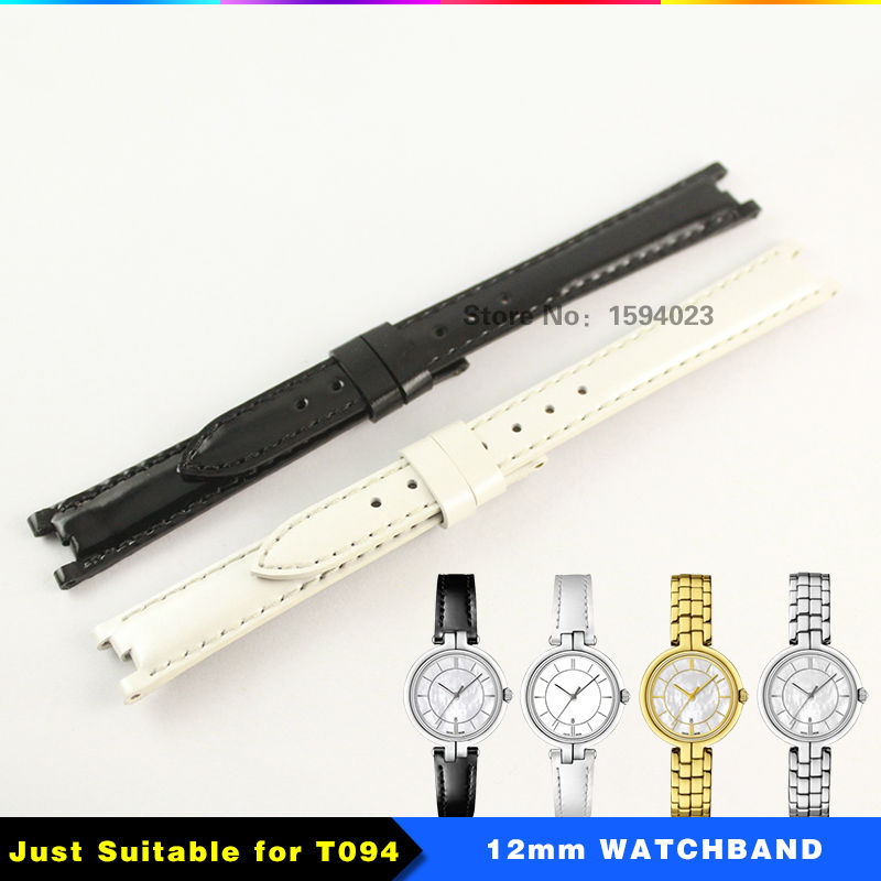 12mm (Buckle10mm) T094210A Coat of paint Genuine Leather Strap Women Black white Watch band Accessories watchband For T094 16mm buckle14mm t099 for women red genuine leather coat of paint watch bands strap