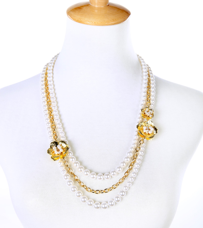 Romantic Elegant Imitation Pears Chain Necklace New Design Layered