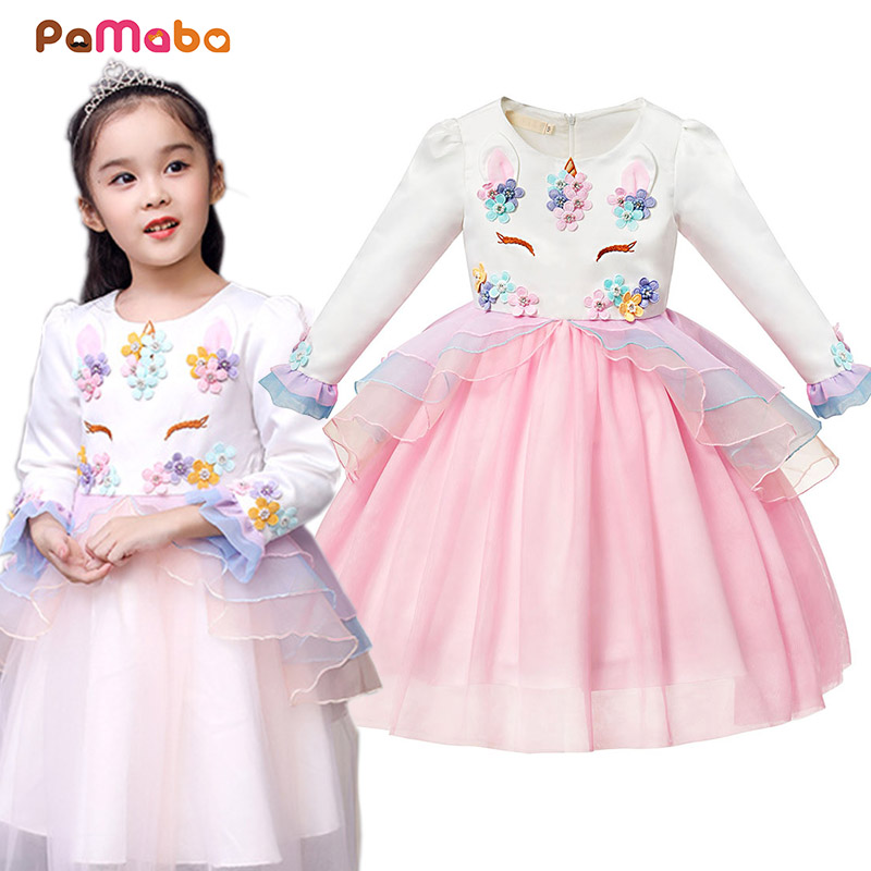 PaMaBa Fancy Unicorn Tutu Dress for Girls Appliques Long Sleeve Kids Zipper Unicorn Party Frock Children Fashion Winter Clothes