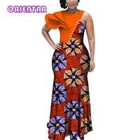 African Dresses for Women African Wax Print Bazin Riche Dashiki Long Dress Lady Elegant Wedding Party Africa Maxi Dress WY3619
