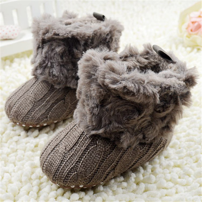 2017 Winter Warm Baby Ankle Snowboots Infant Crochet Knit Fleece Baby Shoes For Boys Girls