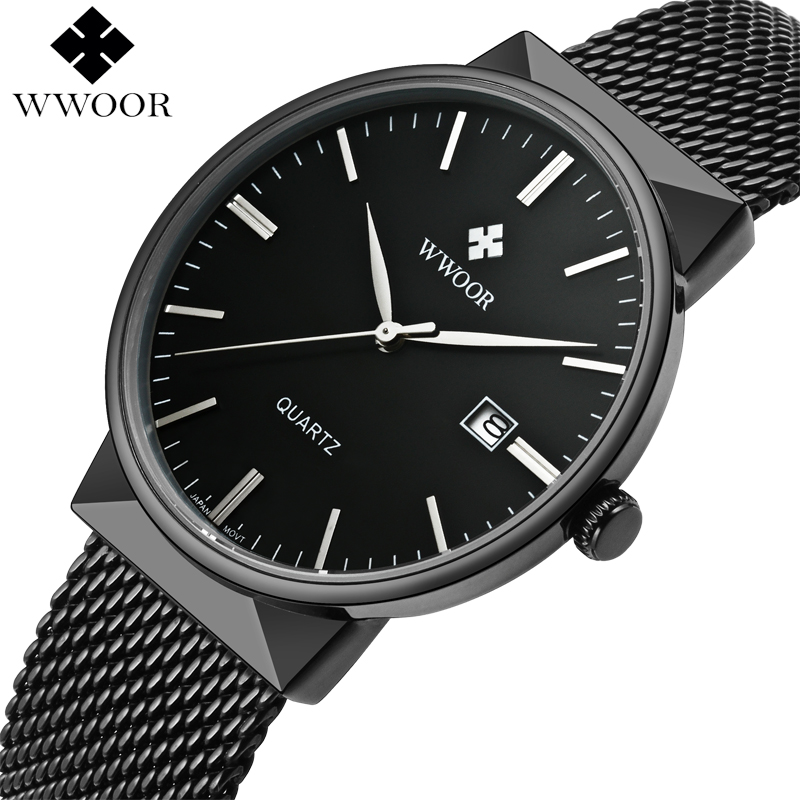 все цены на Top Brand Luxury Men Waterproof Sports Watches Men Quartz Date Clock Male Black Strap Casual Wrist Watch WWOOR relogio masculino