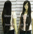 Fine  shipping Extra long Straight Dark brown Women wig + cap 5.6