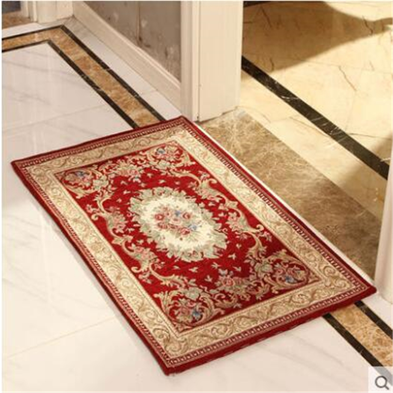 Beibehang Luxury European Style Door Mats Entrance Pad Hall Kitchen Living Room Sliding Chenille Embroidery
