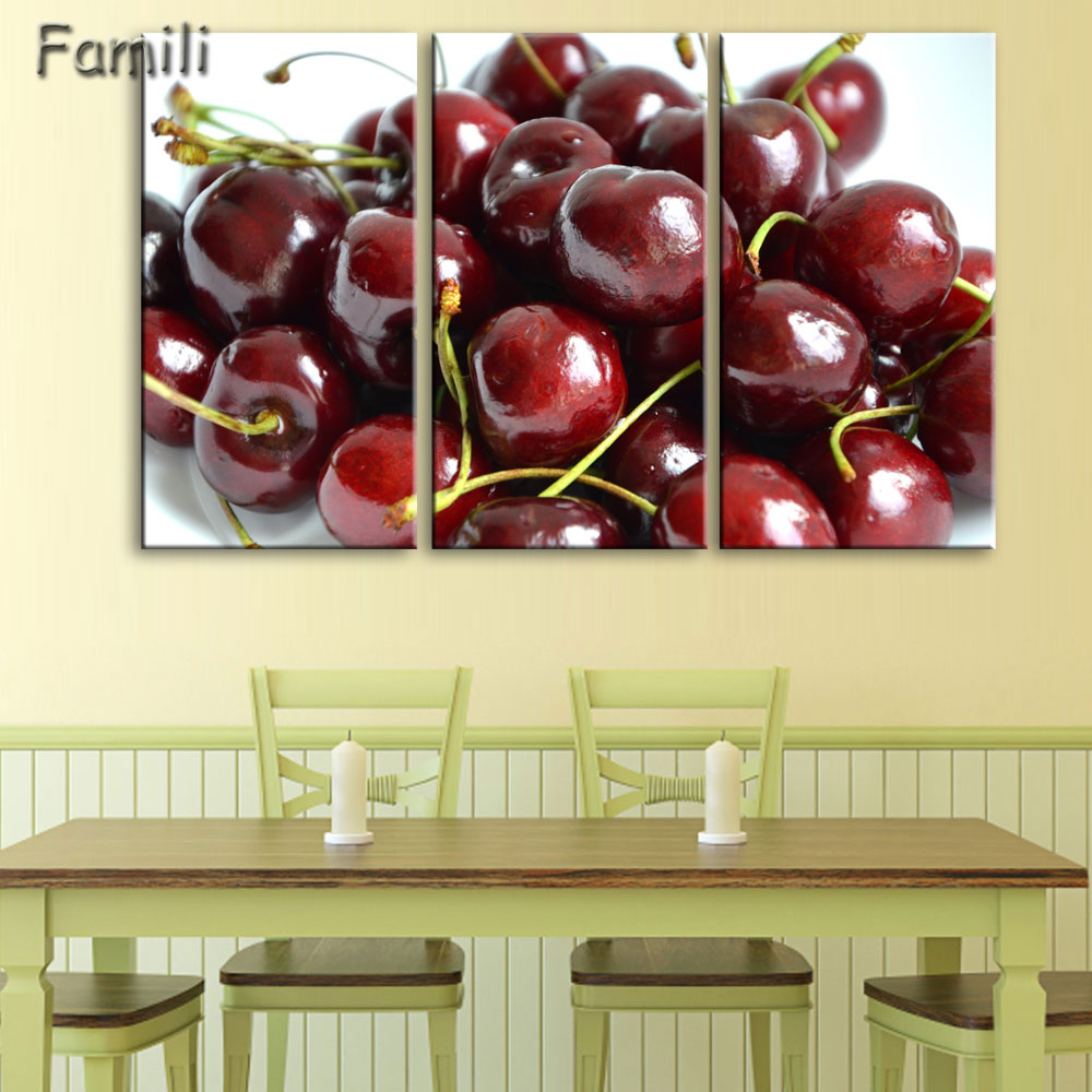 Canvas painting 3 panel Restaurant Fruits Orange grape green apple ...