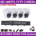 Nueva cctv de 8 canales dvr 960 h 4 unids 1000TVL cámara kit home video sistema de vigilancia 960 H dvr nvr Grabador hdmi 1080 p 3g wifi P2P