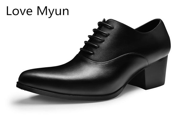 New high heels mens genuine leather oxford shoes men pointed toe height increase wedding shoes white black business casual shoes