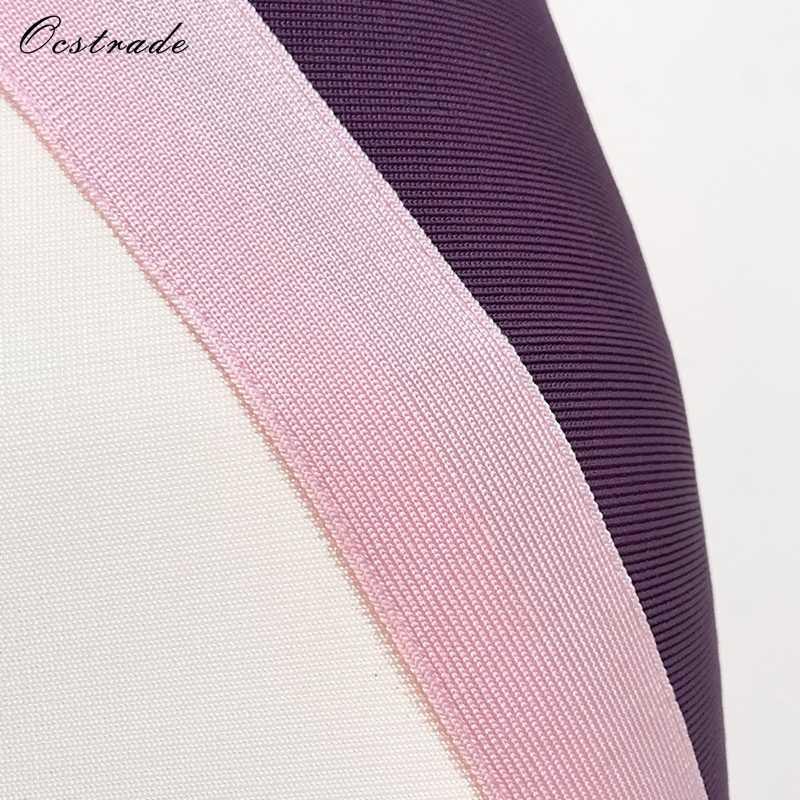 Ocstrade 2017 nouvelles femmes arrivée robe de pansement Sexy sans manches rose & blanc & violet moulante robe de pansement robe crayon