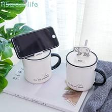 цены на Forest Animal Mobile Phone Holder Cover Ceramic Cup Creative Lid with Spoon Mug Office Student Water Cup Creative Gift  в интернет-магазинах