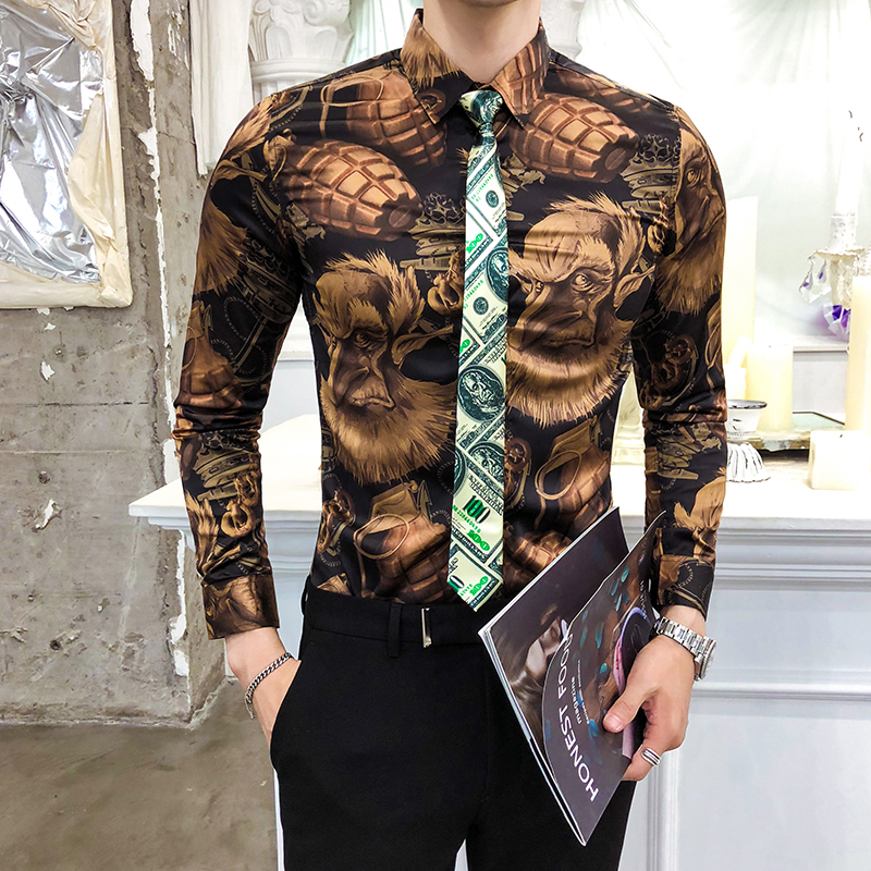 Men/'s Luxury Golden Slim Fit Button Down Shirts Long Sleeve Casual Dress Shirts