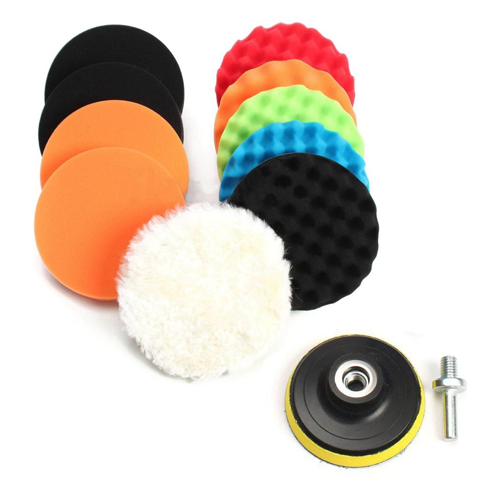 "11 Pcs 5"" Waffle Buffer Polishing Pad Set For Car Polisher-in Abrasive Tools from Tools"