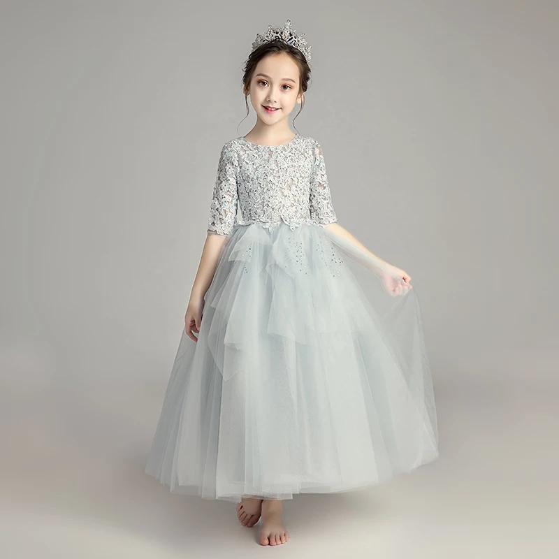 2018 Autumn New Children Girls Luxury Princess Lace Dress For Birthday Party Kids Teens Evening Party Dress Half Sleeves Dress half dress roobins half dress