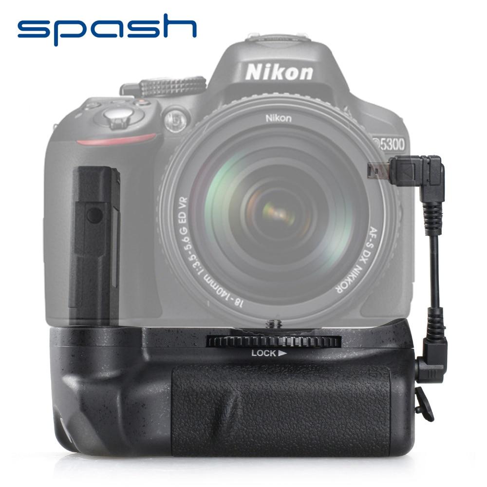 Daudzfunkcionāla vertikālā baterijas sprādze Nikon D5300 D5200 D5100 DSLR kamerai Aizstāt MB-D51 akumulatora turētāju Darbs ar EN-EL14