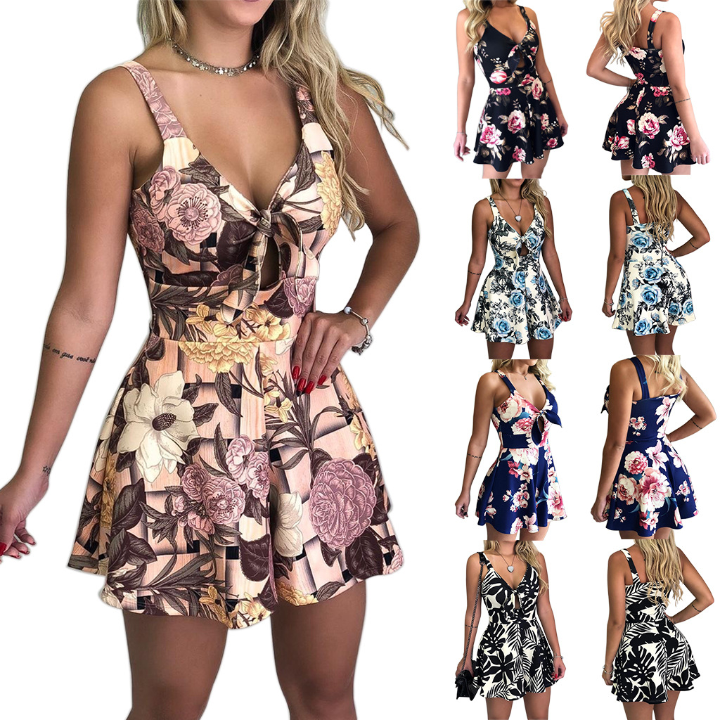Summer   Jumpsuit   Flower Clothing Playsuits Fashion Sexy Strap Bow Beach Sundress Tie Printed Loose Women Bodysuits Shorts Black