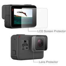 PULUZ 2 in 1 Tempered Glass LCD Screen Protective Film + Lens Protective Film Scratch-resistant Dustprof for GoPro Hero 5