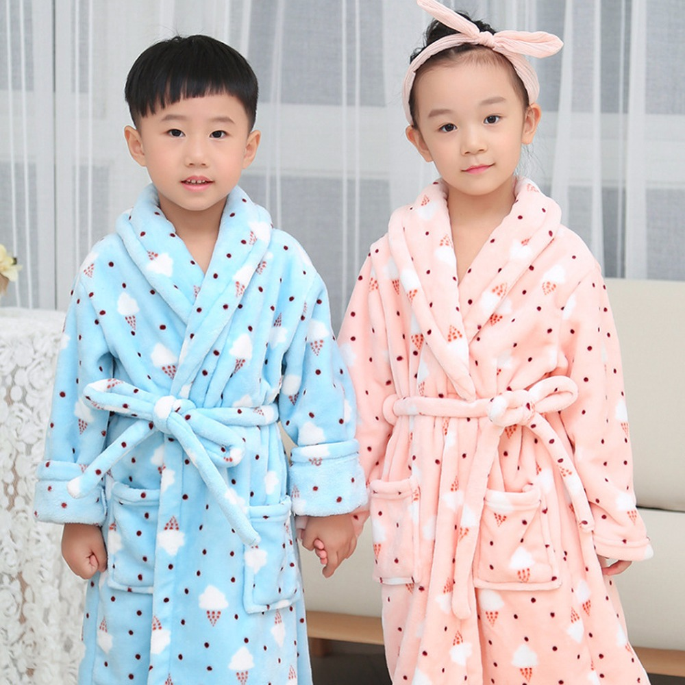 Girls & Boys Winter Nightwear Robes Kids Clothes Night-robe Warm Flannel Pyjamas Sleepwear Kids Pajamas Bathrobe 4-10 T Pigiama