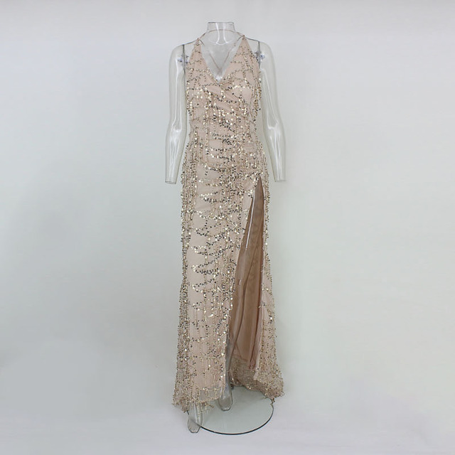 Spring Women Vintage Dress Apparel Sexy Sequin Tassel Beach Party Club Wear Maxi Long Dresses Gold Sequined Robe