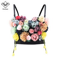 Wechery Floral Corset Appliques Tops for Women Fashion Sexy Gothic Style Waist Slimming Bustier Summer Clothing for Daily Party