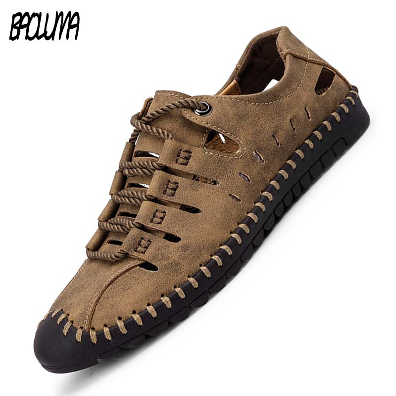 Summer Men's Sandals Leather Breathable High Quality Beach Sandals Slippers Shoes Men Shoes Lace-up Outdoor Male Shoes 38-48