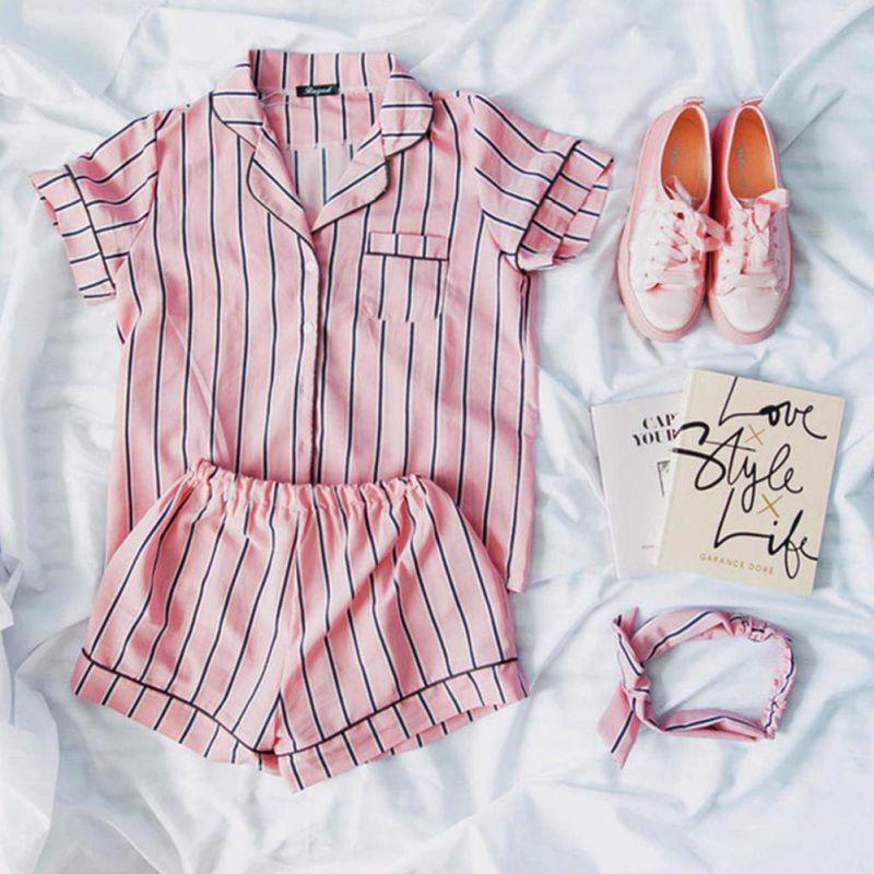 Plus Size Summer 2018 Fashion Women   Pajamas   Turn-down Collar Sleepwear 2 Two Piece   Set   Shirt+Shorts Striped Casual   Pajama     Sets