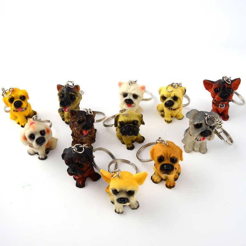 Brelok do kluczy Boyfriend gift Brelok piękny żywicy pies breloczek prezent dla chłopaka Corgi buldog zwierzęta psy brelok torba na biżuterię Charms brelok do kluczy dla kobiet