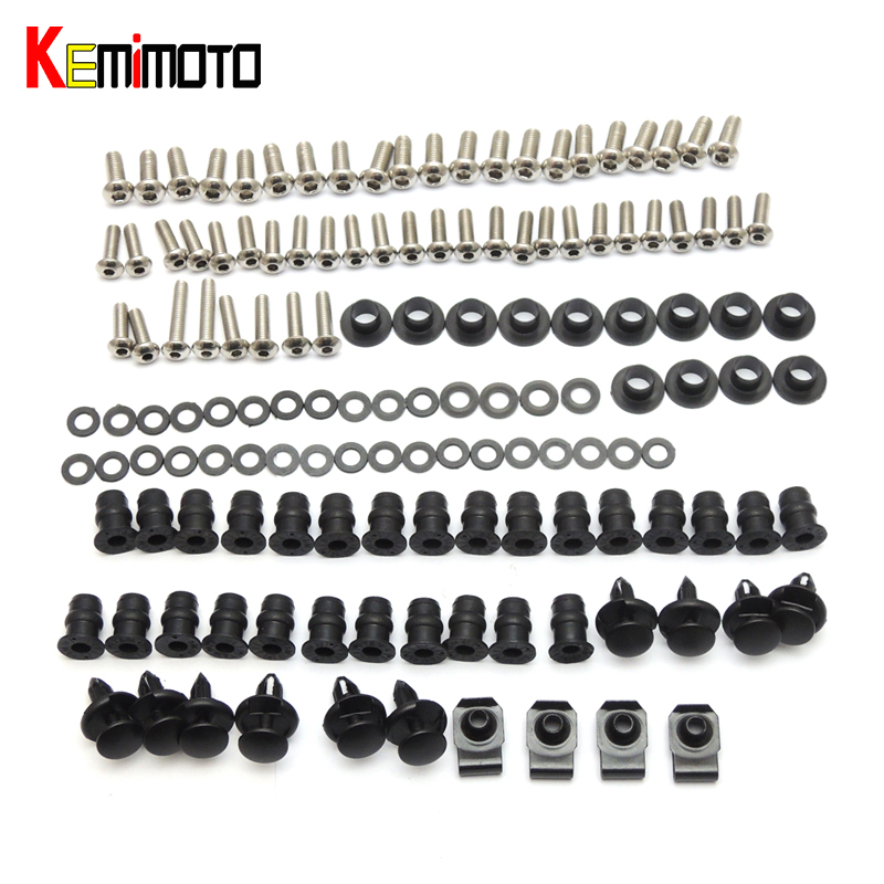 KEMiMOTO For Kawasaki Ninja ZX6R Motorcycle Fairing Bolt Screw Fastener Nut Washer For Kawasaki 2005 2006 Ninja ZX-6R 2005 2006