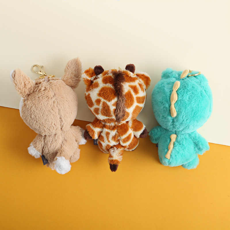 Caricatura oso marrón dinosaurio oso jirafa llavero mujer bolso colgante llaveros mochila para niños peluche para colgar llavero muñeca