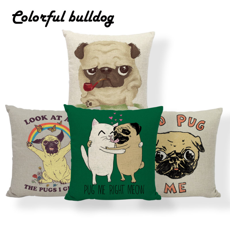 Rose Funny Pug Dog Pillowcase Cute One Pair Rectangle Animal Puppy Pet Pillow Ca