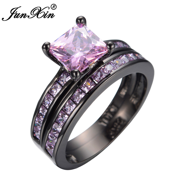 JUNXIN Female Jewelry AAA Pink Zircon Finger Ring Set Black Gold Filled Wedding Party Finger Ring For Men and Women