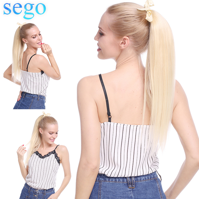 """SEGO 16""""-20"""" Pure and Piano Ponytail Clips-in Human Hair Extensions Horsetail Natural Straight Ponytails 100%Non-Remy Human Hair"""