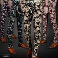 2016 Высокое Качество Нового Прибытия Цветок Печати Мужские узкие брюки Карандаш Брюки Fit Хлопок jogger повседневные Мужские Брюки размер 28-36